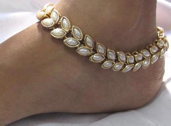 Double line full pearl kundan anklet