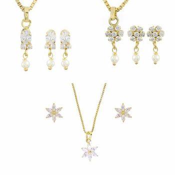 White american diamonds cubic zirconia jewellery combo