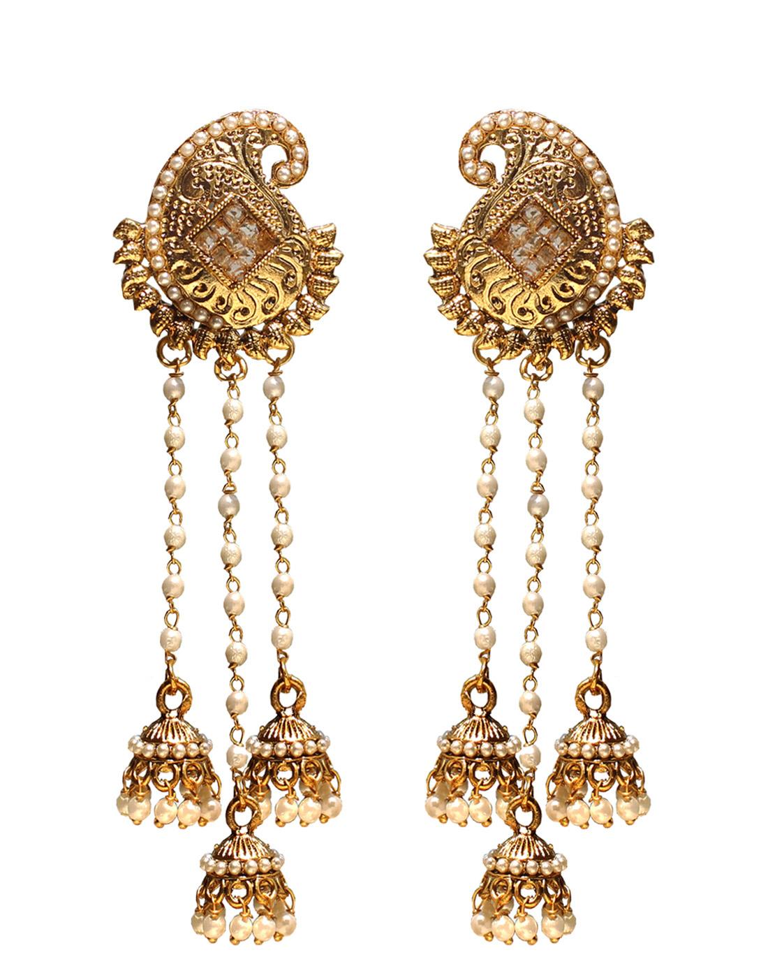 Buy Long Mango Designer Earrings with 3 Pearl Tassels Online