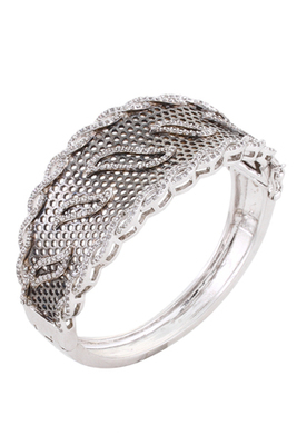 HAPPINESS Collection Antique Silver Black Rhodium Plated Shimmer Party Bracelet For Women