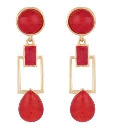 Buy Squarish Crown Hot Red Earrings danglers-drop online