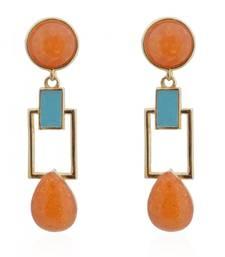 Buy Hot Apricot Squarish Crown Earrings danglers-drop online