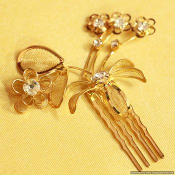 Flower Gold look Zircon Hairclip