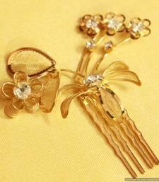 Buy Flower Gold look Zircon Hairclip brooch online