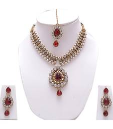 Buy Jewellery White Pearl  White Ad Red Stone Fashion  Girls  Women Neclace Sets necklace-set online