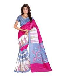 Buy Pink printed bhagalpuri silk saree with blouse bhagalpuri-silk-saree online