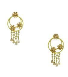Buy Golden Beige CZ AD American Diamond Dangle Earrings Jewellery for Women - Orniza danglers-drop online