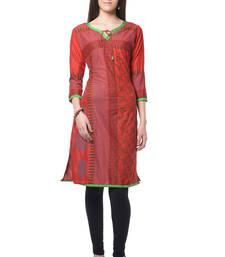 Buy Red block print rayon kurti long-kurti online