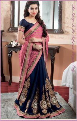 pink embroidered pure_viscose saree with blouse
