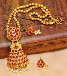 Buy Pink gold plated agate necklace set south-indian-jewellery online