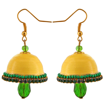 Yellow teracotta and dokra jhumkas