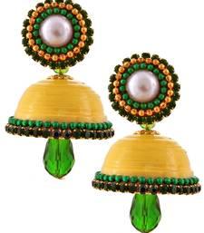 Buy Yellow teracotta and dokra jhumkas terracotta-jewelry online
