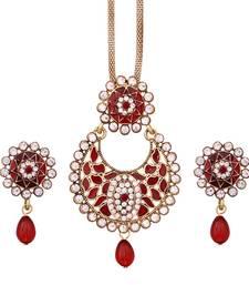 Buy Exclusive Designer Round Shape Filigiri Maroon Alloy Pendant set Pendant online