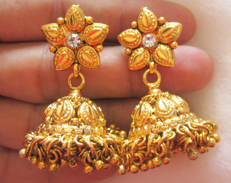 Buy NECKLACE SET Gold plated temple Jewelery Jhumka earrings Online