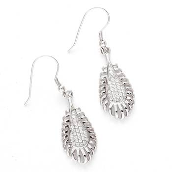 Tear Drop White CZ Hoop Earrings
