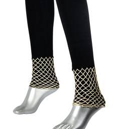 Buy Plain Leggings with Crochet Work | Black legging online