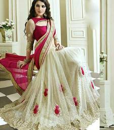 Buy White and pink embroiderd net saree with blouse half-saree online