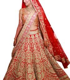 Buy Fabron Red embellished semi stitched lehenga choli material with matching net dupatta lehenga-choli online