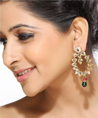 Emerald and Kundan Hoop Earrings