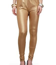 Buy Bright gold shimmer plain leggings legging online