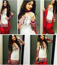 Buy White cotton embroidered semi stitiched salwar with dupatta punjabi-suit online