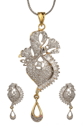 HAPPINESS Collection Silver Shimmer Gold Plated Pendant Set For Women