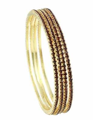 Maroon Red Polki Stones Bangles Jewellery for Women - Orniza