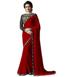 Buy Red embroidered satin saree with blouse bridal-saree online