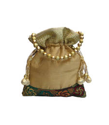 Buy Raw Silk Classic Batwa with Floral Brocade Border (Light Gold) potli-bag online