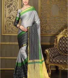 Buy Multicolour printed cotton silk saree With Blouse cotton-saree online