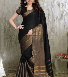 Buy Black and Golden  printed cotton saree With Blouse cotton-saree online