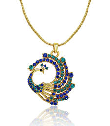 Buy Oviya Crystal Blue Green Round Peacock Gold Plated Pendant for Women Pendant online
