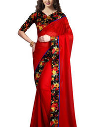 Buy red plain georgette saree With Blouse georgette-saree online