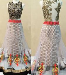 Buy White embroidered net unstitched lehenga choli net-lehenga online