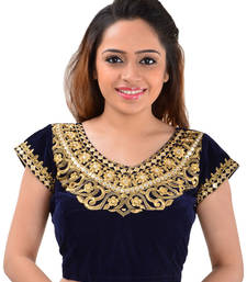Buy Blue velvet mirror work unstitched blouse blouse-fabric online