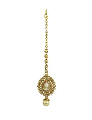 Golden Beige Polki Stones Maang Tika Jewellery for Women - Orniza