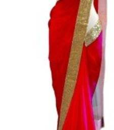 Buy red plain georgette saree With Blouse bridal-saree online