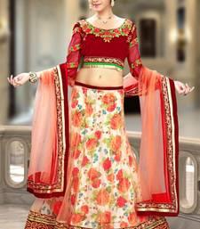 Buy Peach floral print net unstitched lehenga choli net-lehenga online