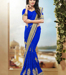 Buy blue hand woven georgette saree With Blouse heavy-work-saree online