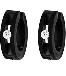 Buy Earrings for Men Boys Studs Black Hollow Pattern Non Pierced Bali men-stud online