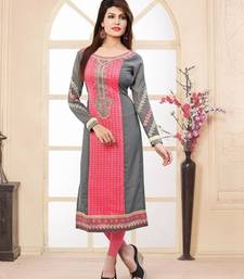Buy Dark peach and grey rasal and jacquard and zari embroidered kurti kurtas-and-kurti online