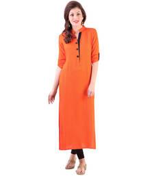 Buy New Latest Fancy Orange Color Cotton Casual Wear Bebo Kurti kurtas-and-kurti online