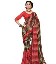 Buy RED AND BROWN printed georgette saree With Blouse printed-saree online