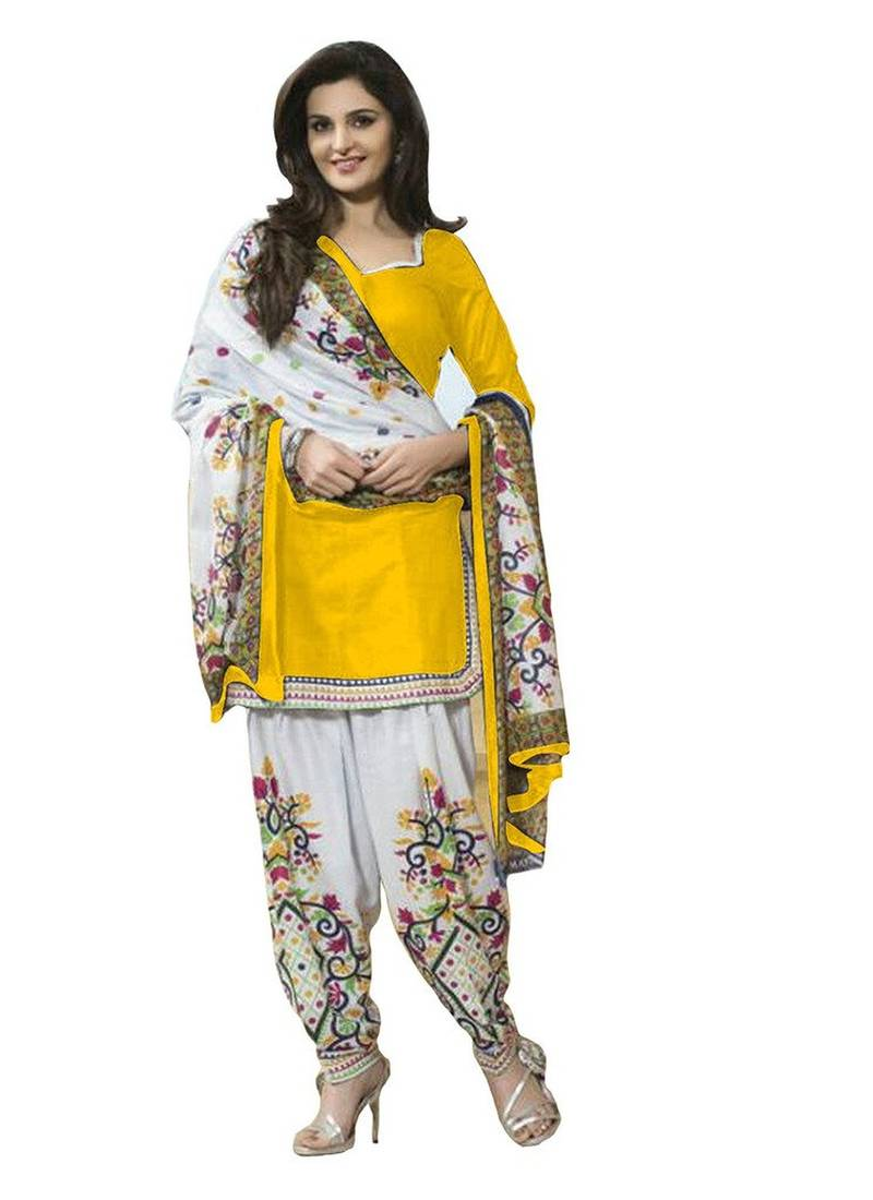 Buy Yellow Printed Polyester Unstitched Salwar With