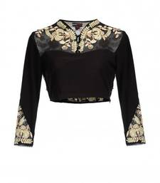 Buy silk unstitched blouse by fabkaz (Black) blouse-fabric online