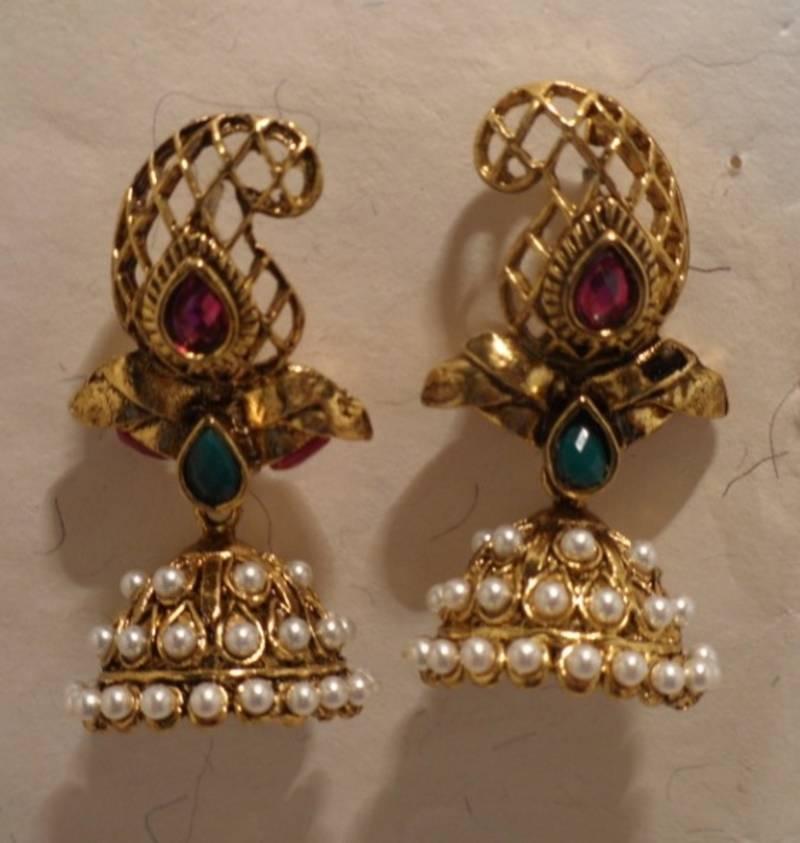Buy golden jhumka ethnic earrings Online