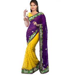 Buy Chiffon saree by kmozi (Yellow) Woman online
