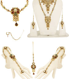 Buy Multicolor zircon   kundan necklace sets bridal-set online