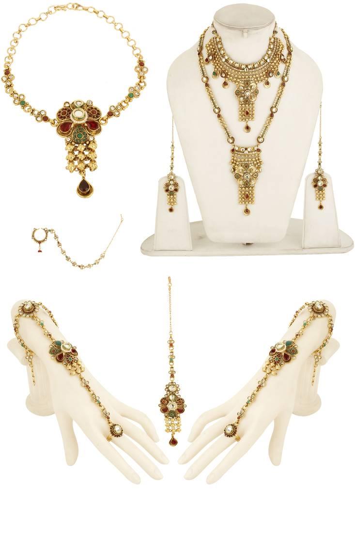 Buy Multicolor zircon kundan necklace sets Online