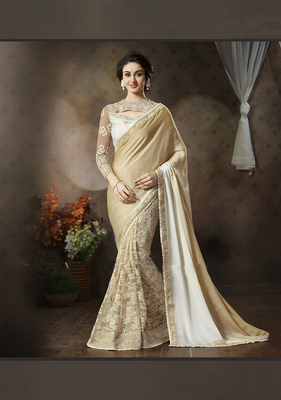 georgette saree by fabkaz (Beige)
